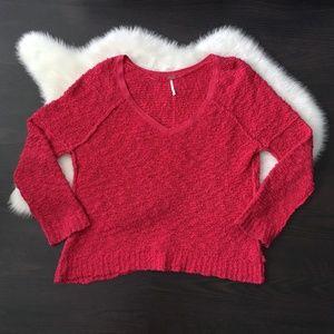 Free People Fuchsia Songbird V Neck Shaggy Sweater